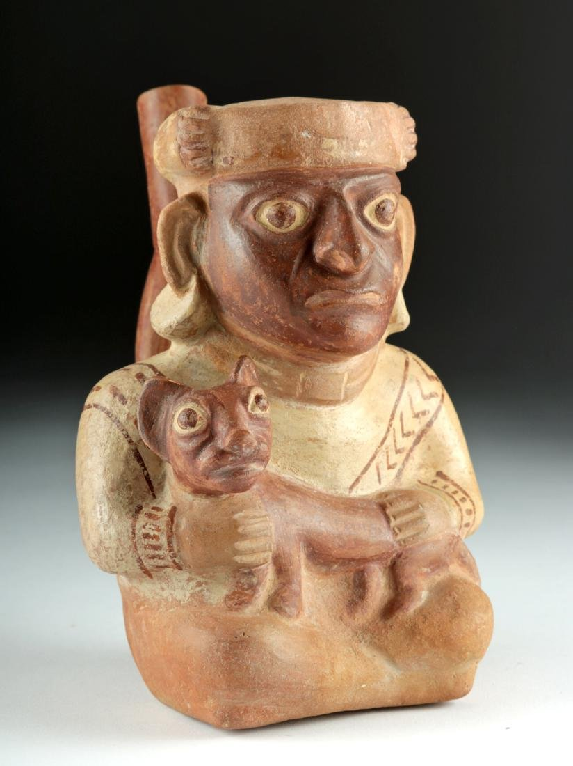 Moche Pottery Stirrup Vessel - Seated Lord & Jaguar Cub
