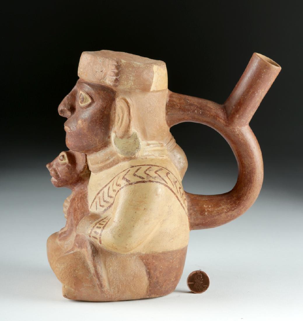 Moche Pottery Stirrup Vessel - Seated Lord & Jaguar Cub - 3