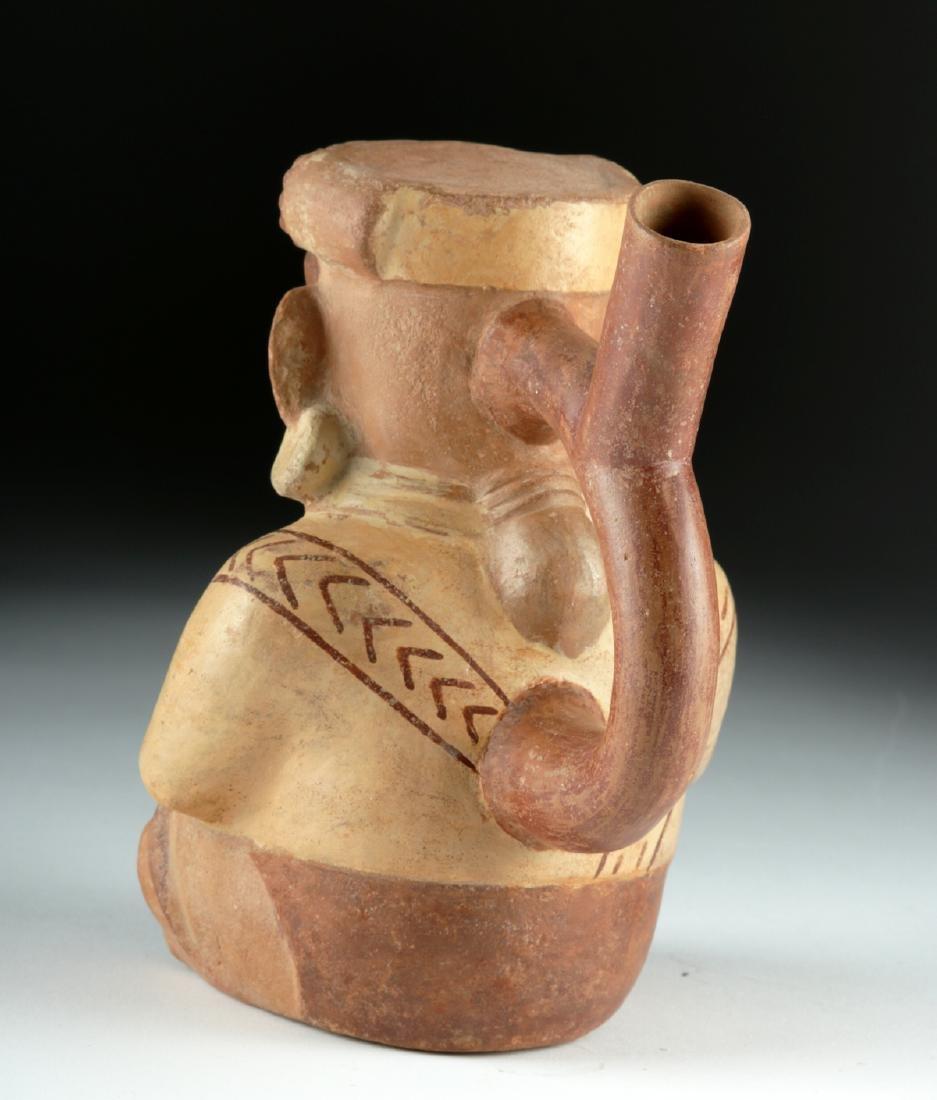 Moche Pottery Stirrup Vessel - Seated Lord & Jaguar Cub - 4
