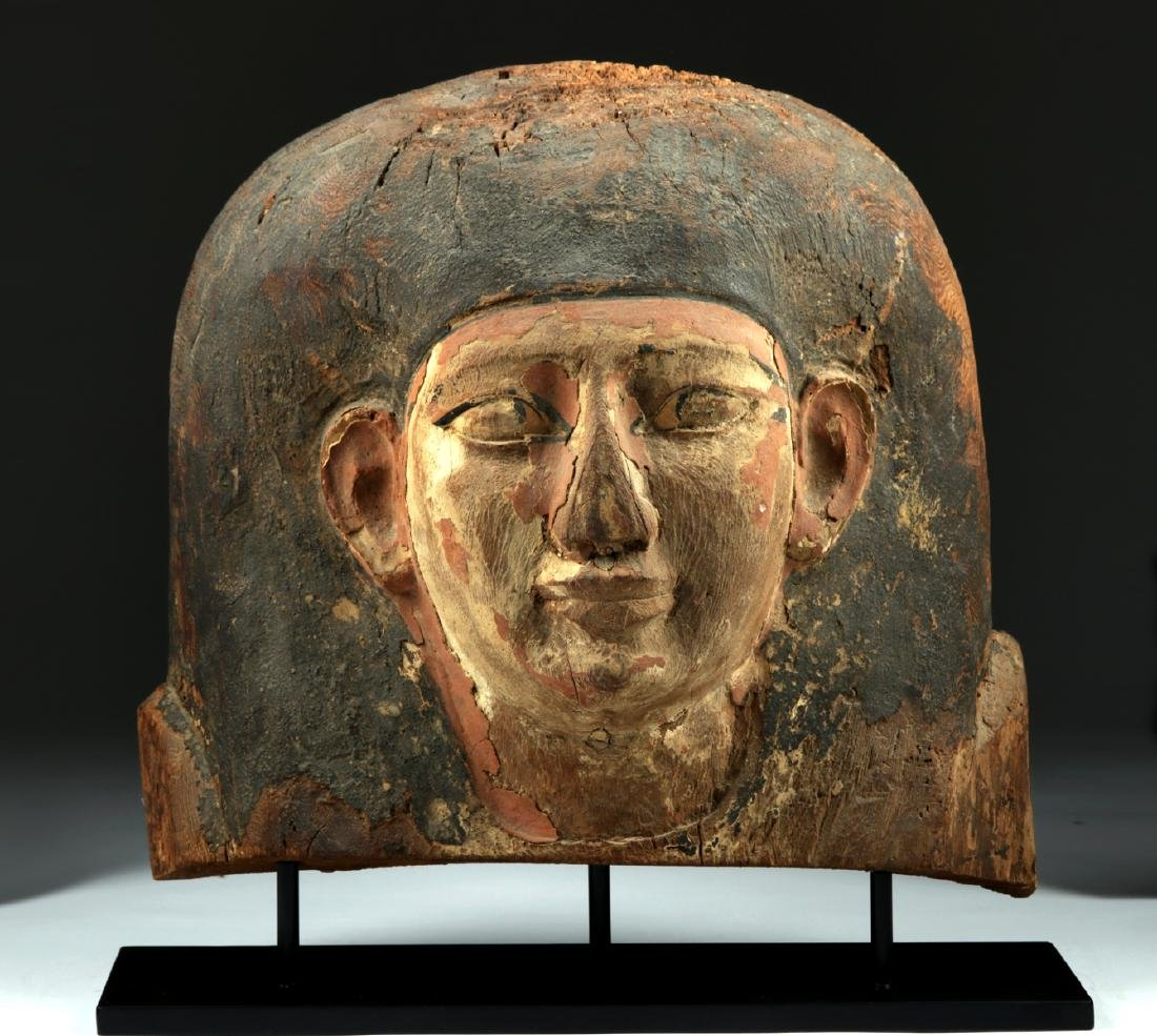 Egyptian Wooden Sarcophagus Head Fragment