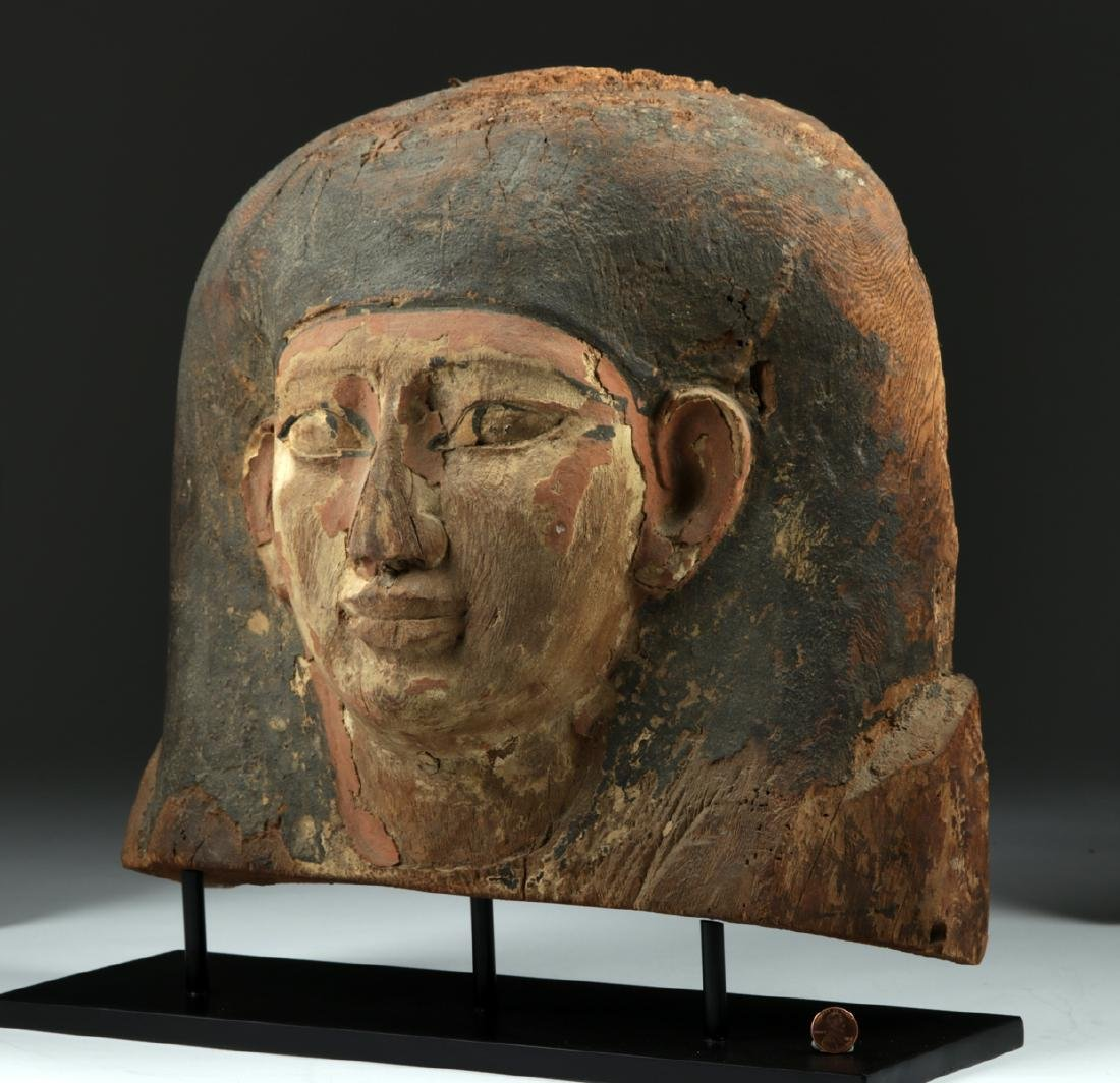 Egyptian Wooden Sarcophagus Head Fragment - 2