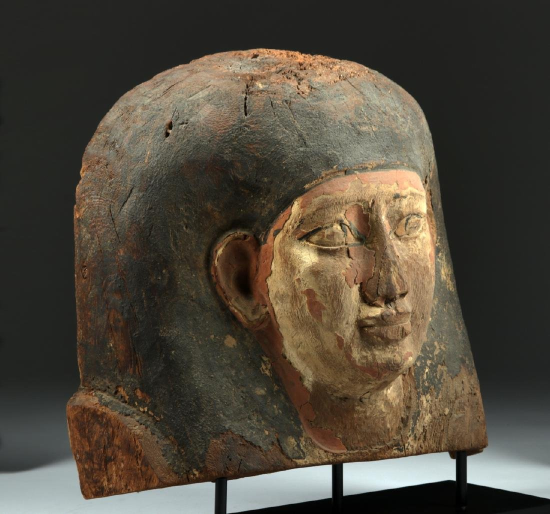 Egyptian Wooden Sarcophagus Head Fragment - 3