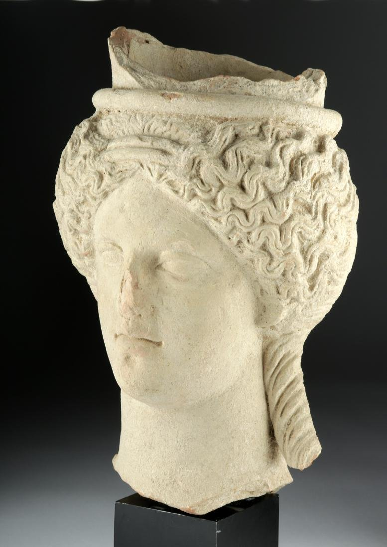 Near Life-Size Sicilian Terracotta Head of Goddess TL'd - 3