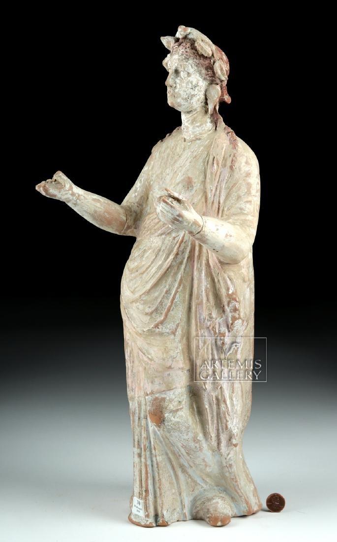 Large Greek Canosan Pottery Standing Goddess