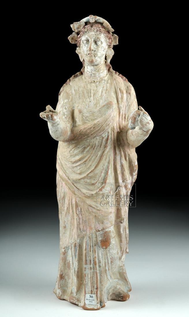 Large Greek Canosan Pottery Standing Goddess - 2