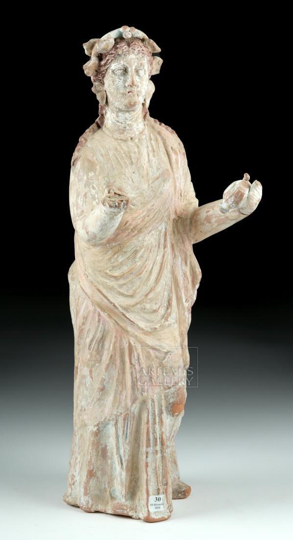 Large Greek Canosan Pottery Standing Goddess - 3