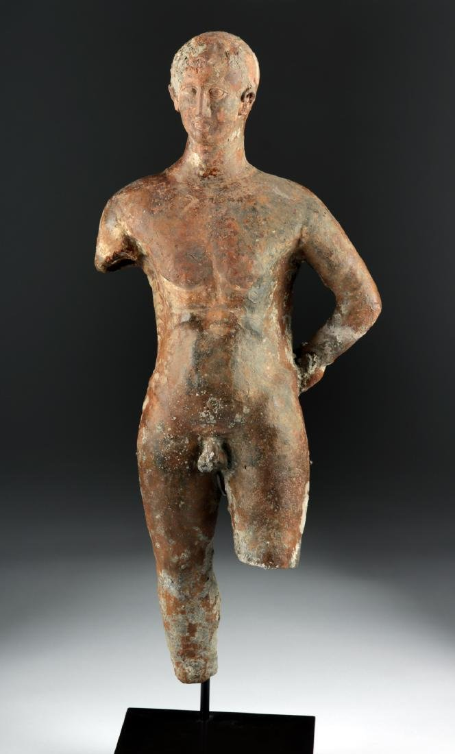 Tall Greek Hellenistic Terracotta Statue of an Athlete