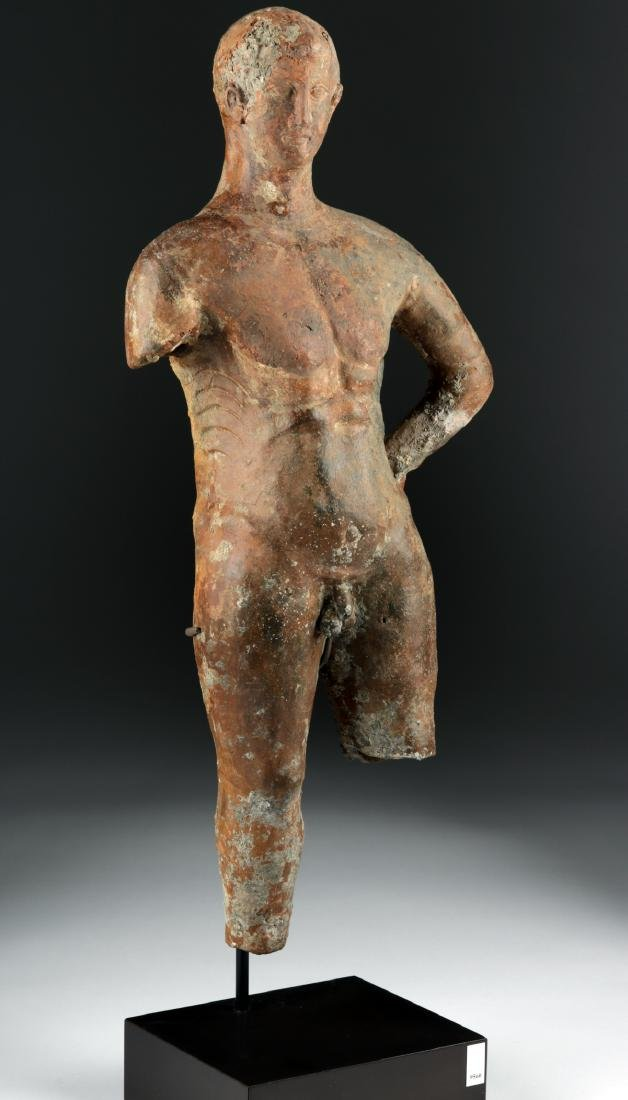Tall Greek Hellenistic Terracotta Statue of an Athlete - 2