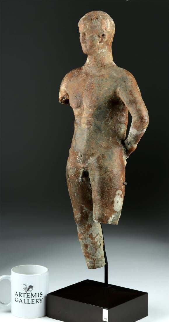Tall Greek Hellenistic Terracotta Statue of an Athlete - 3