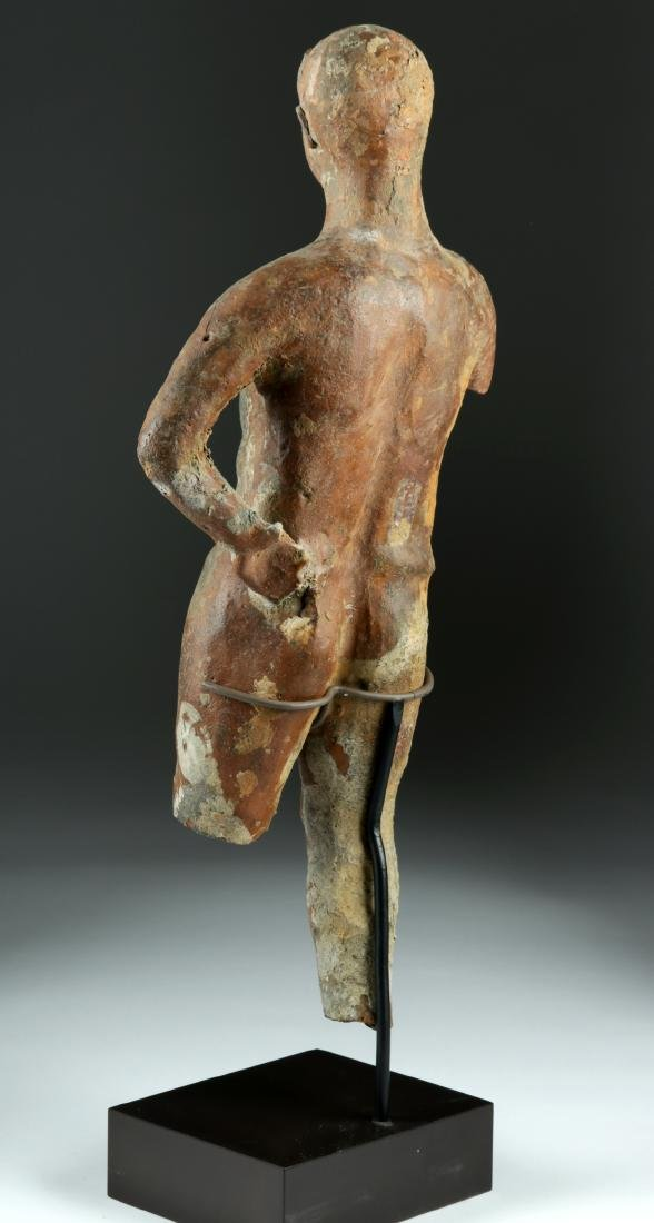 Tall Greek Hellenistic Terracotta Statue of an Athlete - 4