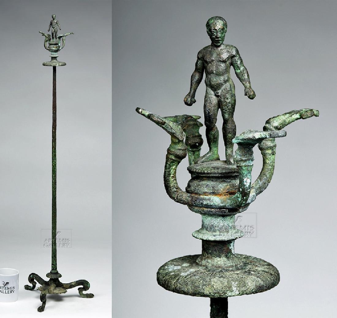 Etruscan Bronze Candelabrum w/ Athlete, ex-Christie's