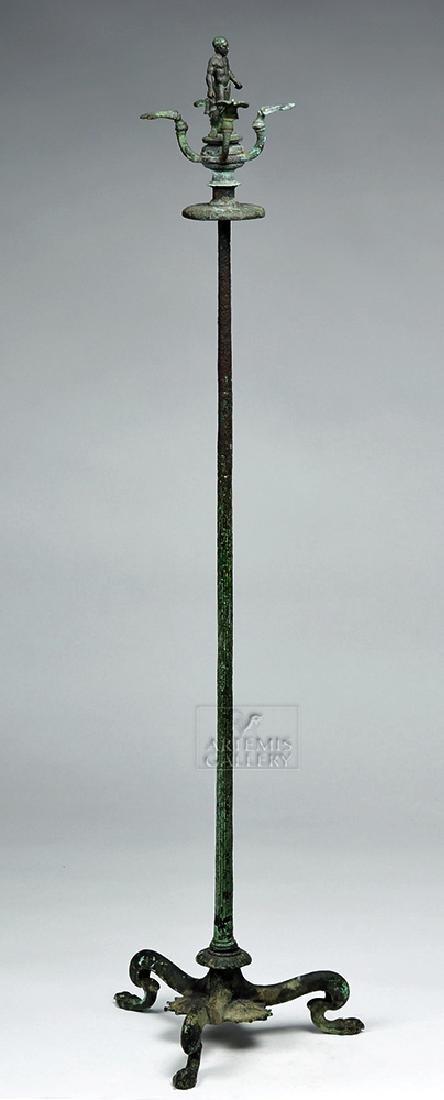 Etruscan Bronze Candelabrum w/ Athlete, ex-Christie's - 2