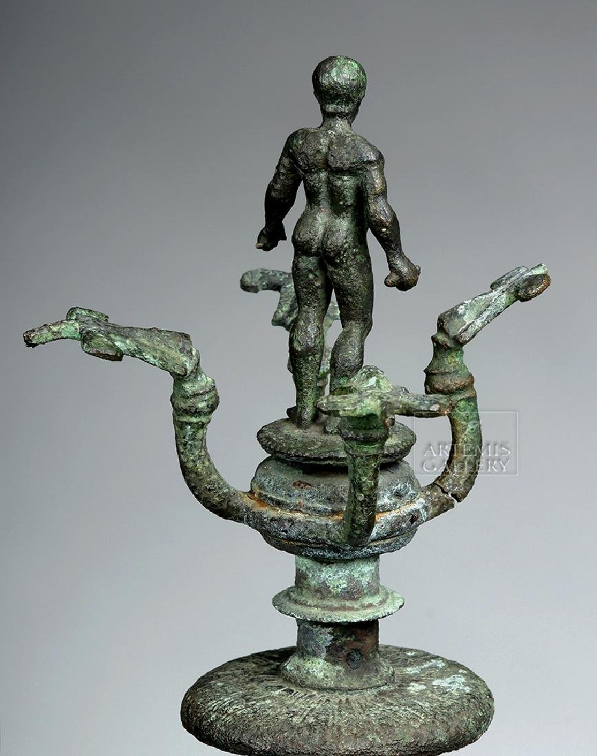 Etruscan Bronze Candelabrum w/ Athlete, ex-Christie's - 3