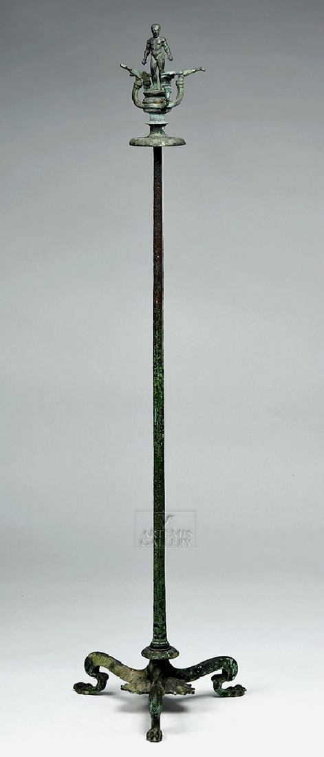 Etruscan Bronze Candelabrum w/ Athlete, ex-Christie's - 5