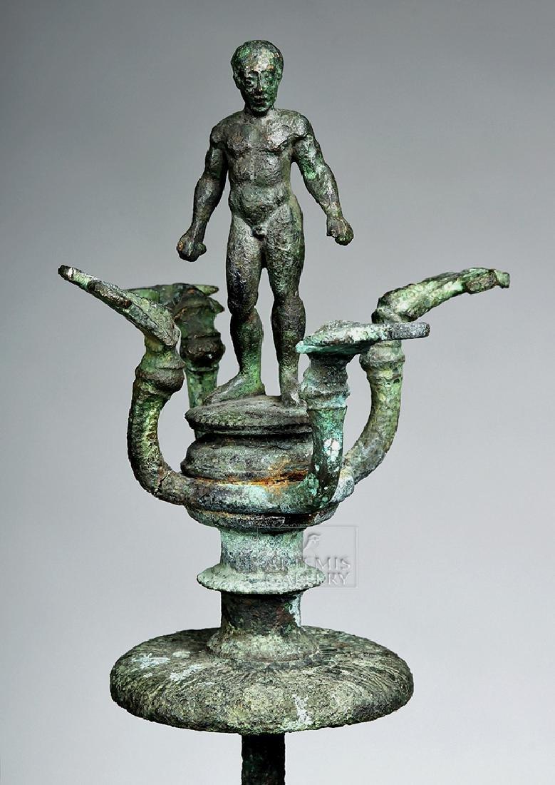 Etruscan Bronze Candelabrum w/ Athlete, ex-Christie's - 6