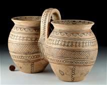 Rare Daunian Polychrome Pottery Double Situla