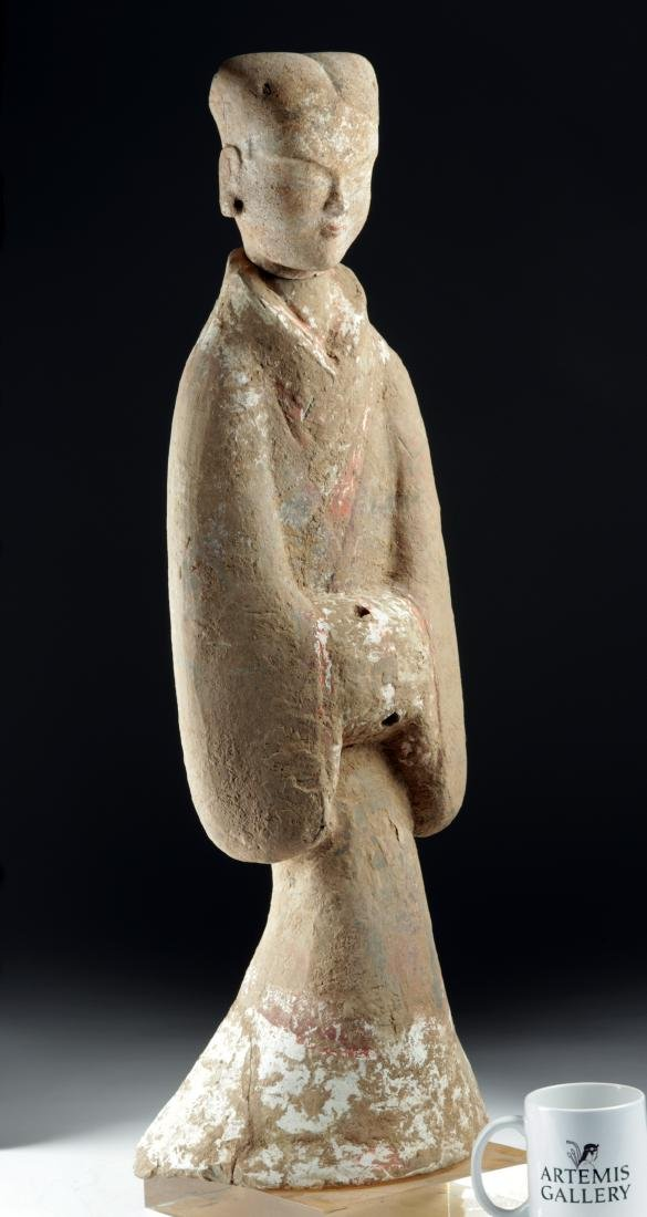 Tall Chinese Han Dynasty Polychrome Tomb Attendant - 2