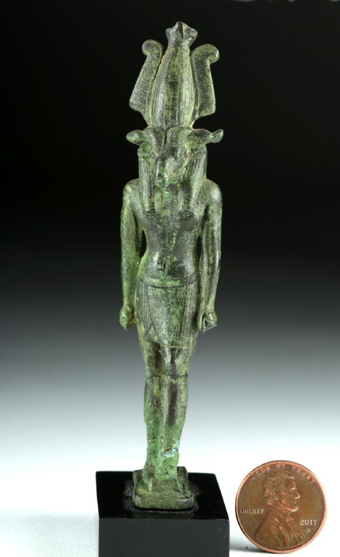 Egyptian Late Dynastic Bronze Striding Figure - Khnum - 2