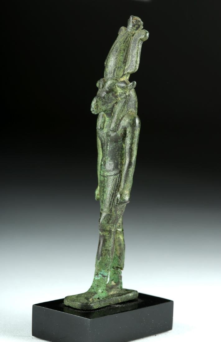 Egyptian Late Dynastic Bronze Striding Figure - Khnum - 3