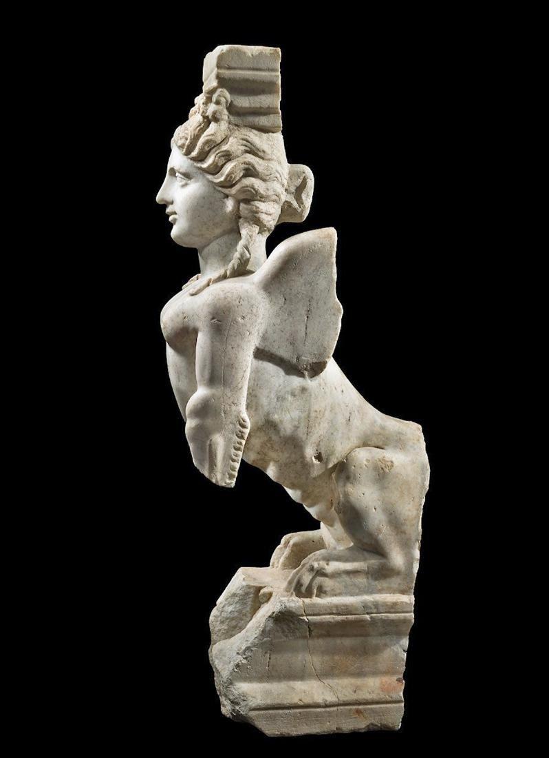 Eastern Greek Marble Sphinx Trapexophoros