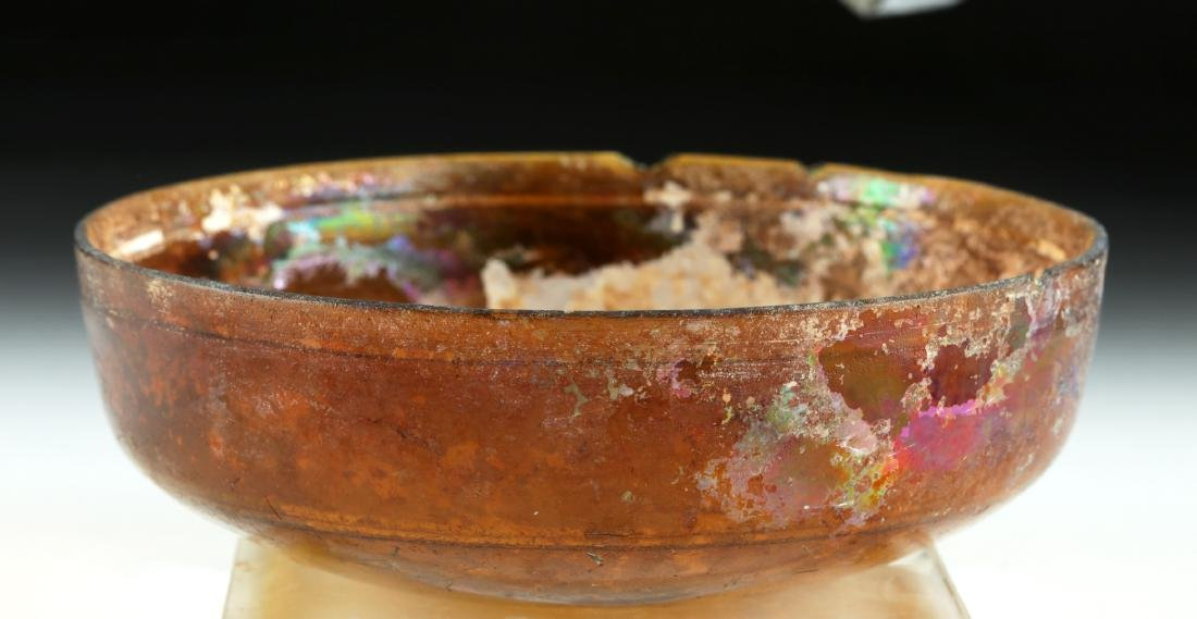 Early Roman Glass Bowl - Deep Amber Color