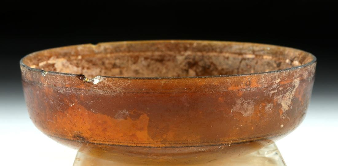 Early Roman Glass Bowl - Deep Amber Color - 4