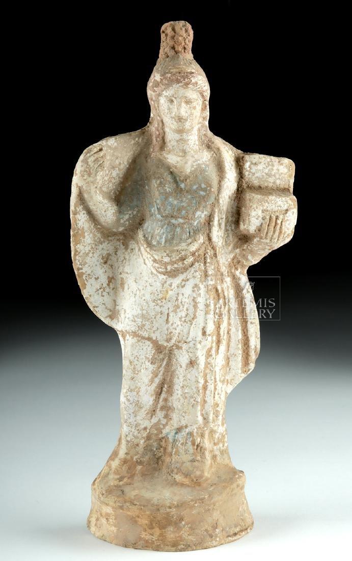 Greek Tanagra Terracotta Polychrome Standing Figure