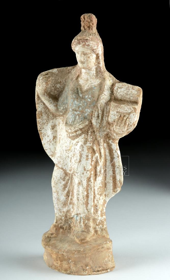 Greek Tanagra Terracotta Polychrome Standing Figure - 2