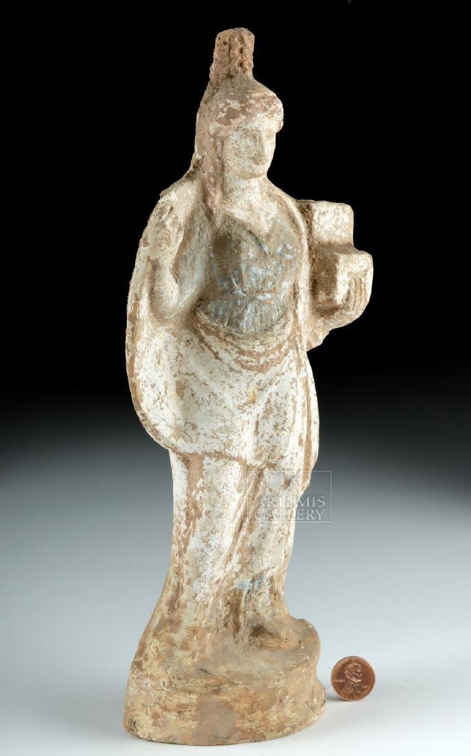 Greek Tanagra Terracotta Polychrome Standing Figure - 3