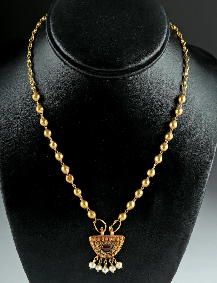 Roman 22K+ Gold, Garnet & Pearl Necklace 15.4 g