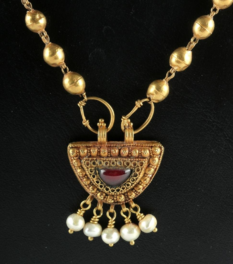 Roman 22K+ Gold, Garnet & Pearl Necklace 15.4 g - 2