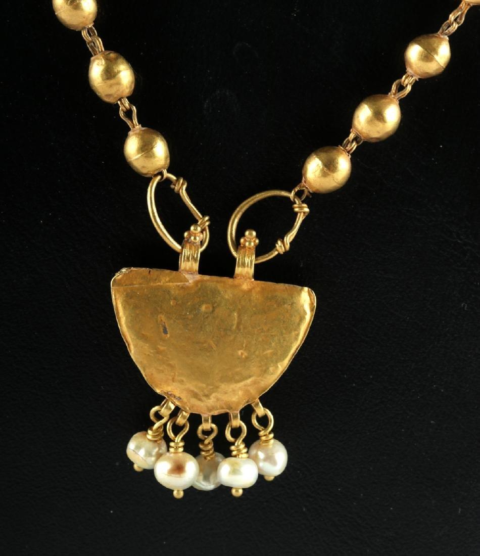 Roman 22K+ Gold, Garnet & Pearl Necklace 15.4 g - 4
