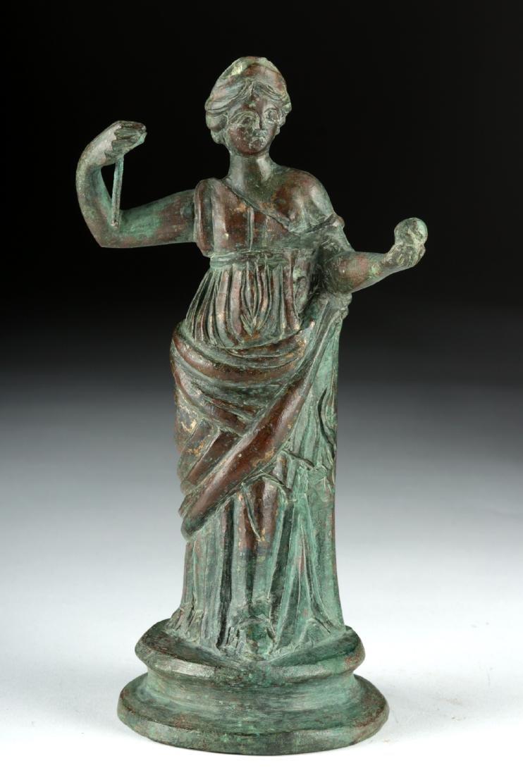 Tall Roman Bronze Statue - Standing Goddess / Muse