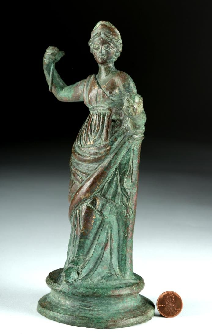 Tall Roman Bronze Statue - Standing Goddess / Muse - 3