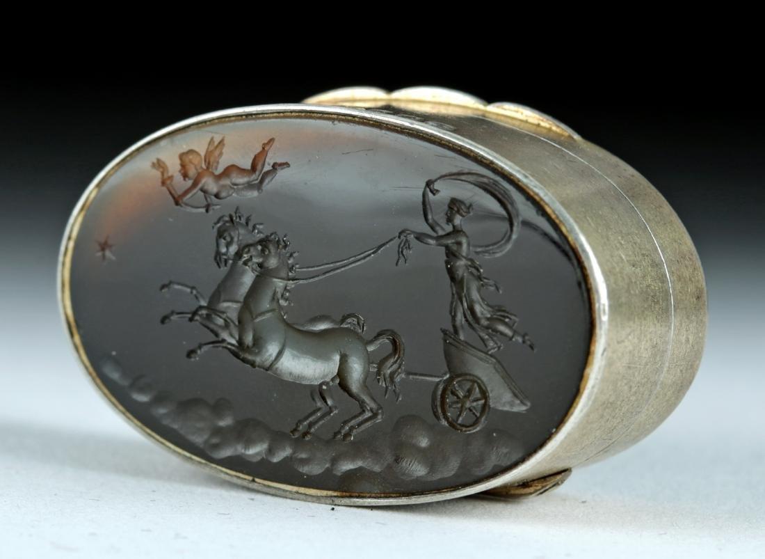 19th C. Victorian Silver Snuff Box w/ Agate Intaglio