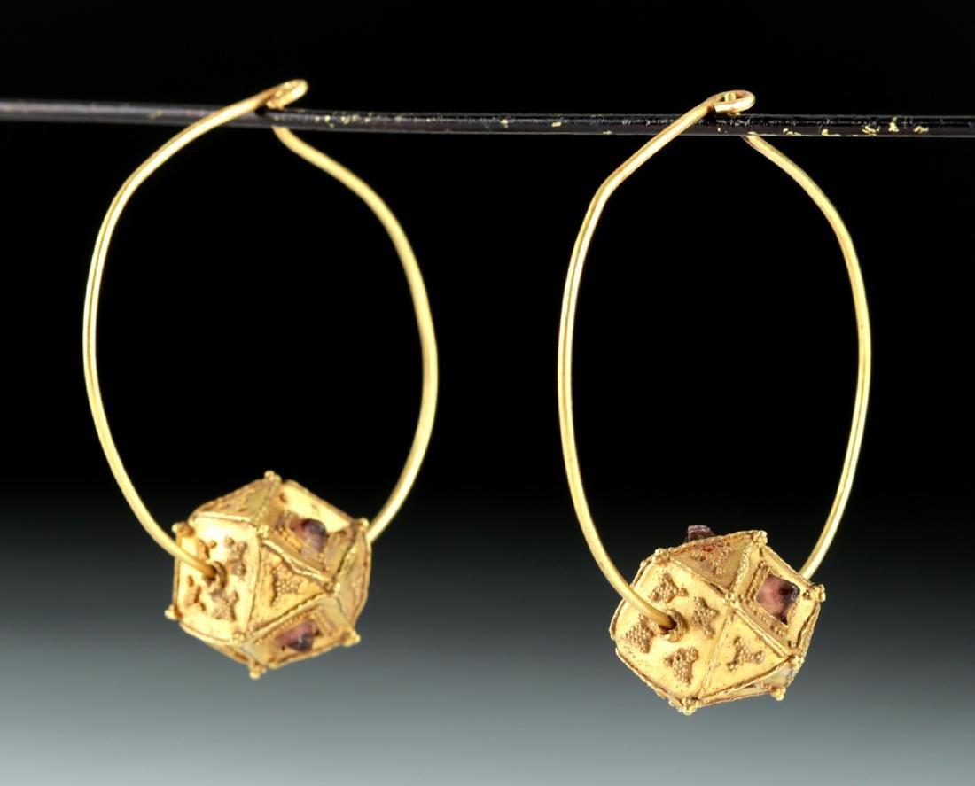 Roman / Byzantine 22K+ Gold & Garnet Earrings 10.4 g