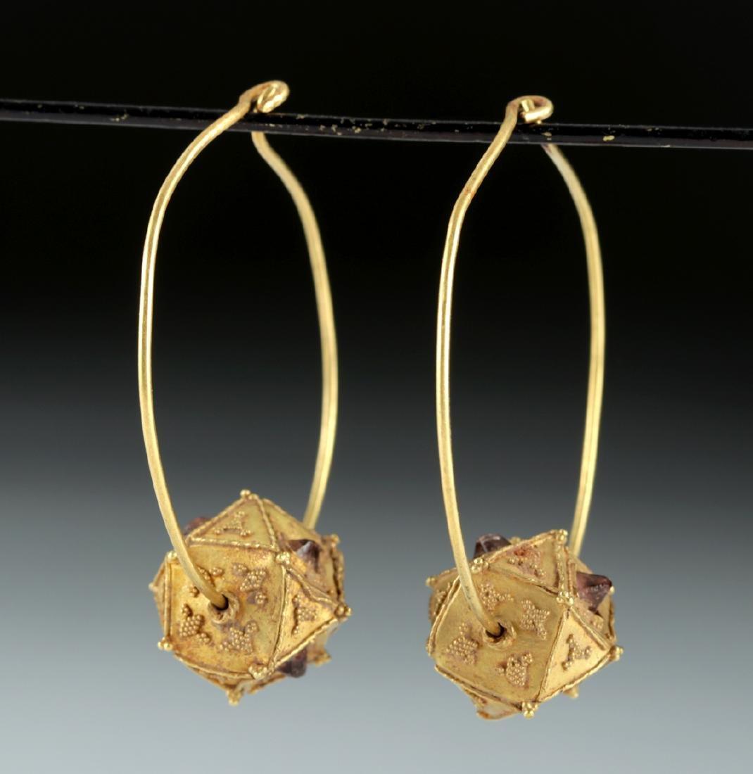 Roman / Byzantine 22K+ Gold & Garnet Earrings 10.4 g - 2