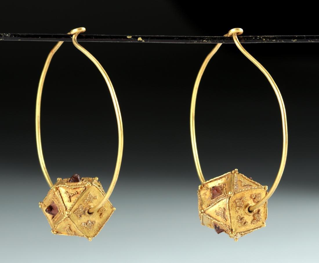 Roman / Byzantine 22K+ Gold & Garnet Earrings 10.4 g - 3