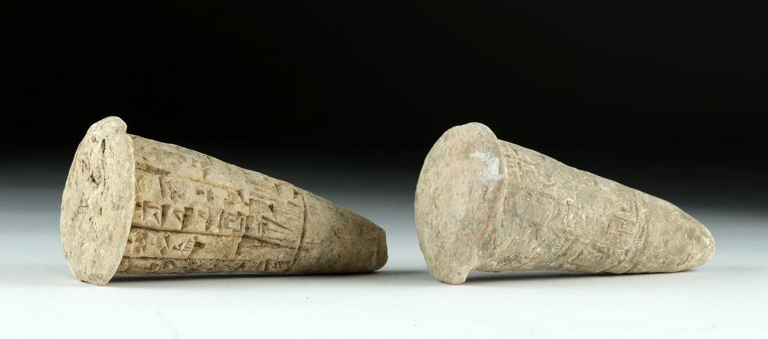Lot of 2 Translated Mesopotamian Clay Foundation Cones