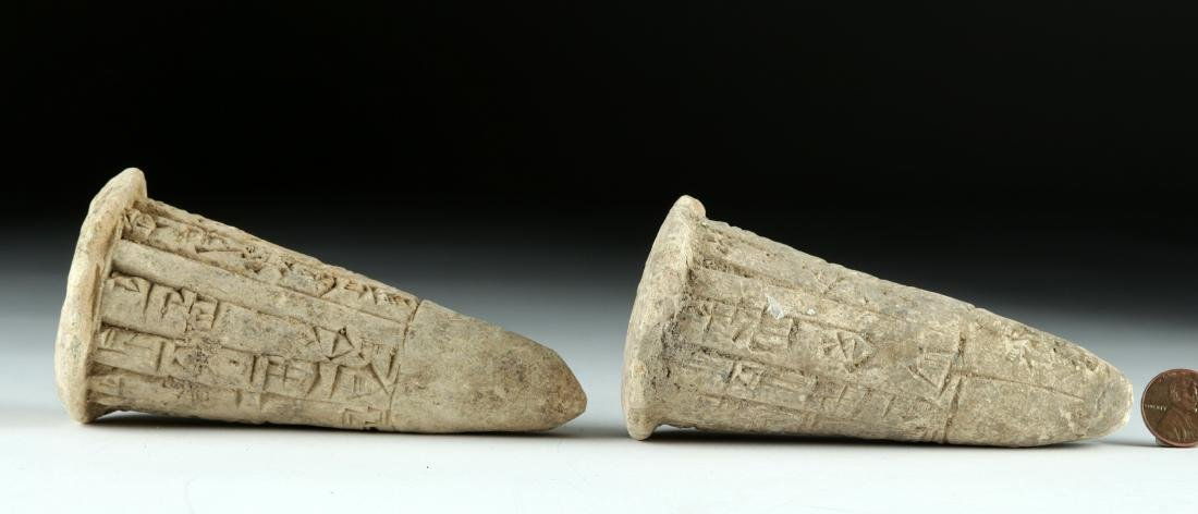 Lot of 2 Translated Mesopotamian Clay Foundation Cones - 2