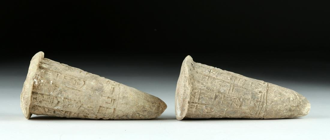 Lot of 2 Translated Mesopotamian Clay Foundation Cones - 3