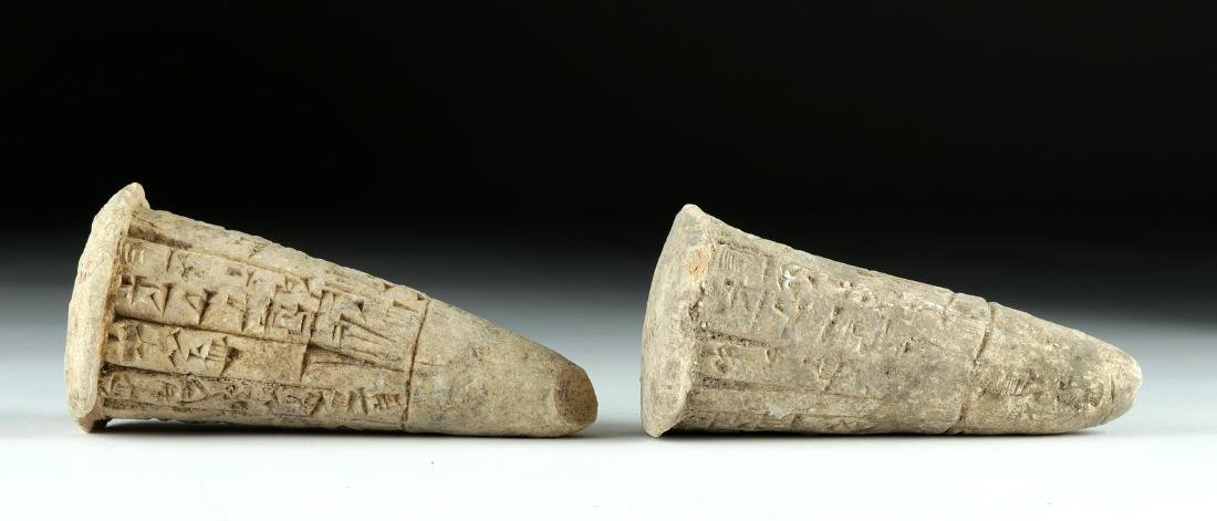 Lot of 2 Translated Mesopotamian Clay Foundation Cones - 4
