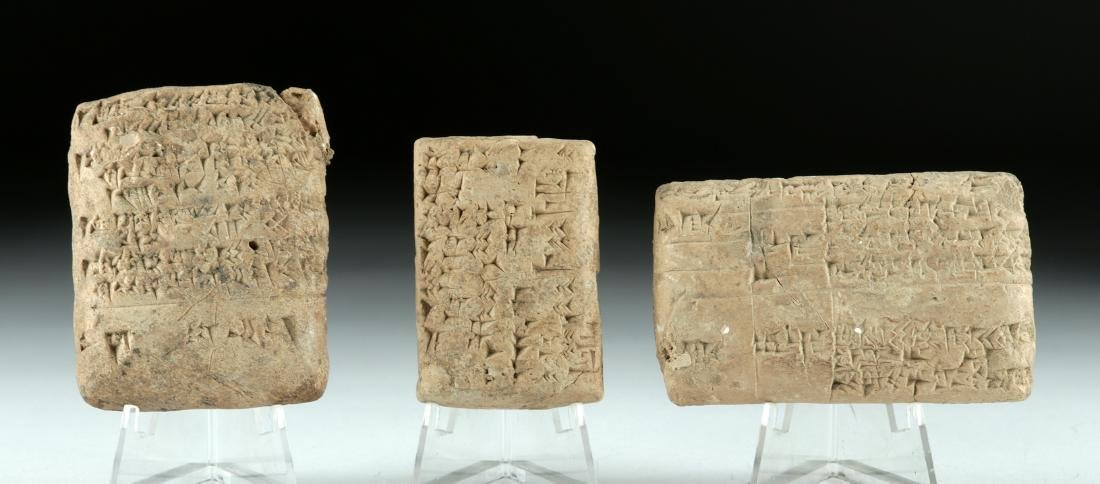 Lot of 3 Fine Mesopotamian Clay Cuneiform Tablets