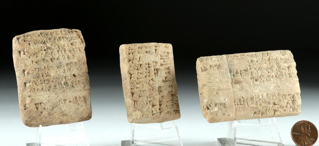 Lot of 3 Fine Mesopotamian Clay Cuneiform Tablets - 2
