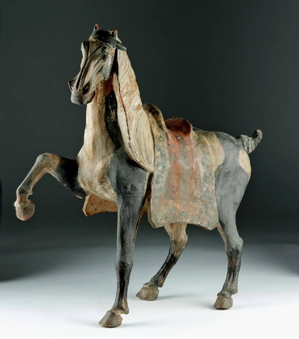 Chinese Tang Dyn Pottery Horse w/ TL, ex-Sotheby's