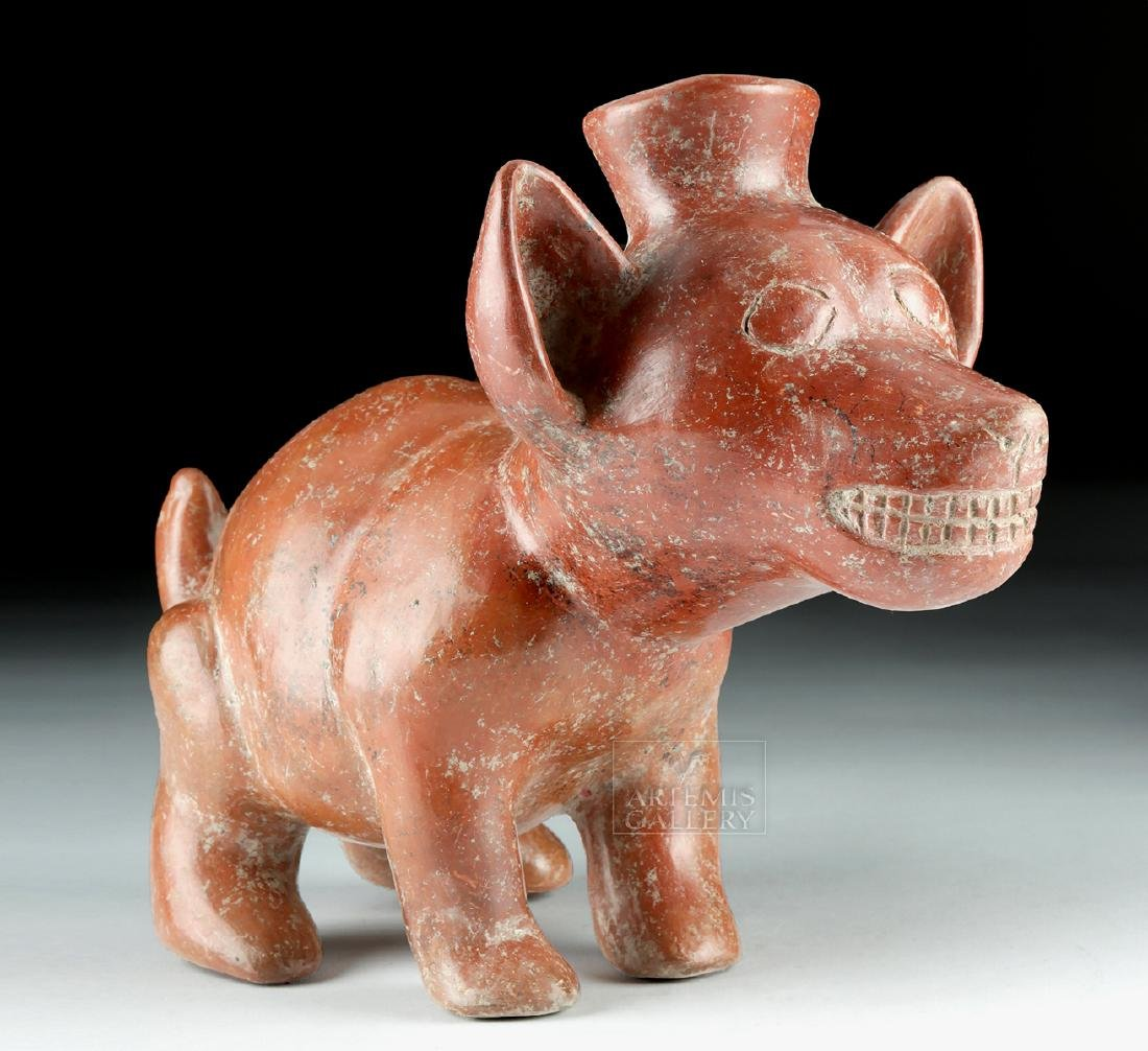 Adorable Colima Redware Dog Vessel - Gnashing Teeth - 2