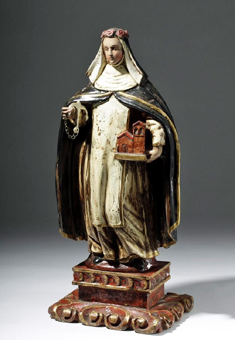 18th C. Spanish Colonial Wood Santo - Rose of Lima