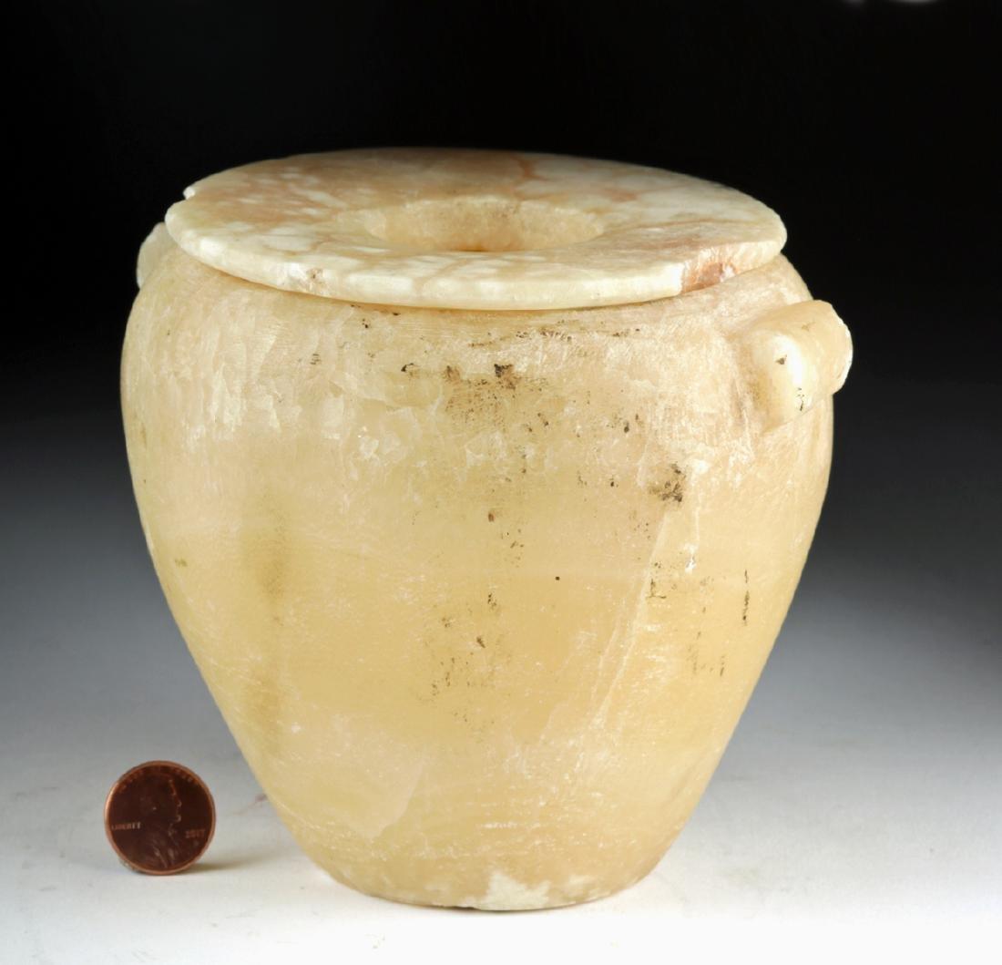Egyptian Late Dynastic Banded Alabaster Jar w/ Lid - 4