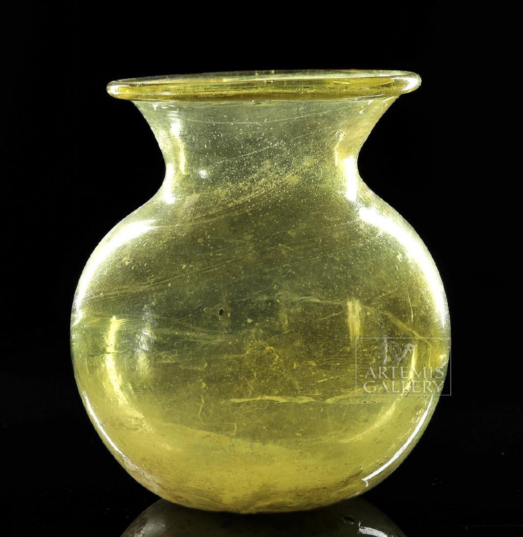 Near-Choice Roman Glass Jar, Yellow-Green Color