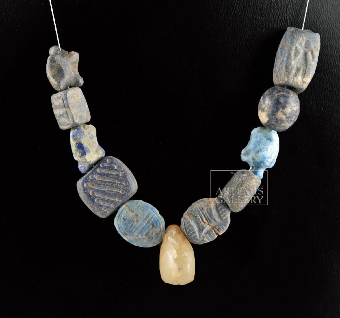 Lot of 11 Bactrian Lapis Lazuli & Rock Crystal Beads - 2